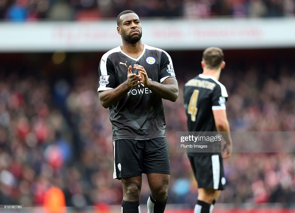 A dejected looking <a gi-track='captionPersonalityLinkClicked' href=/galleries/search?phrase=Wes+Morgan+-+Soccer+Player&family=editorial&specificpeople=13491493 ng-click='$event.stopPropagation()'>Wes Morgan</a> of Leicester City after the Premier League match between Arsenal and Leicester City at Emirates Stadium on February 14, 2016 in London, United Kingdom.