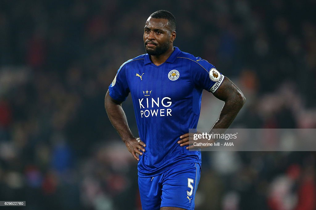 A dejected looking Wes Morgan of Leicester City during the Premier League match between AFC Bournemouth and Leicester City at Vitality Stadium on December 13, 2016 in Bournemouth, England.