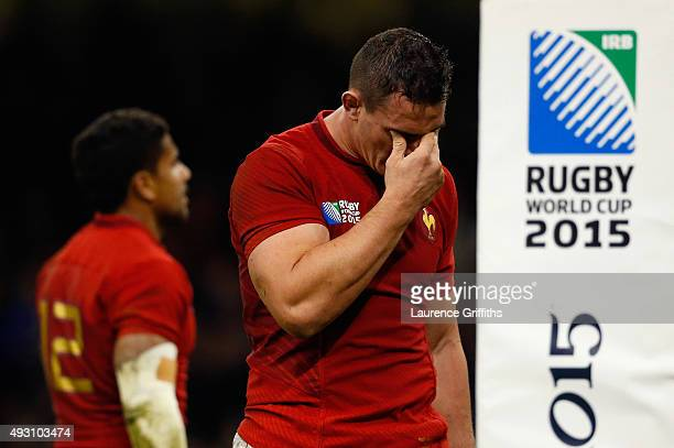 A dejected Louis Picamoles of France during the 2015 Rugby World Cup Quarter Final match between New Zealand and France at the Millennium Stadium on...