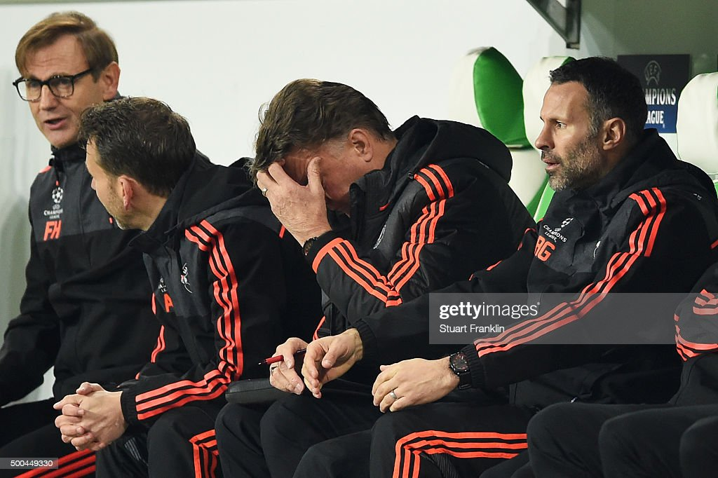 A dejected Louis van Gaal the manager of Manchester United reacts during the UEFA Champions League group B match between VfL Wolfsburg and Manchester United at the Volkswagen Arena on December 8, 2015 in Wolfsburg, Germany.
