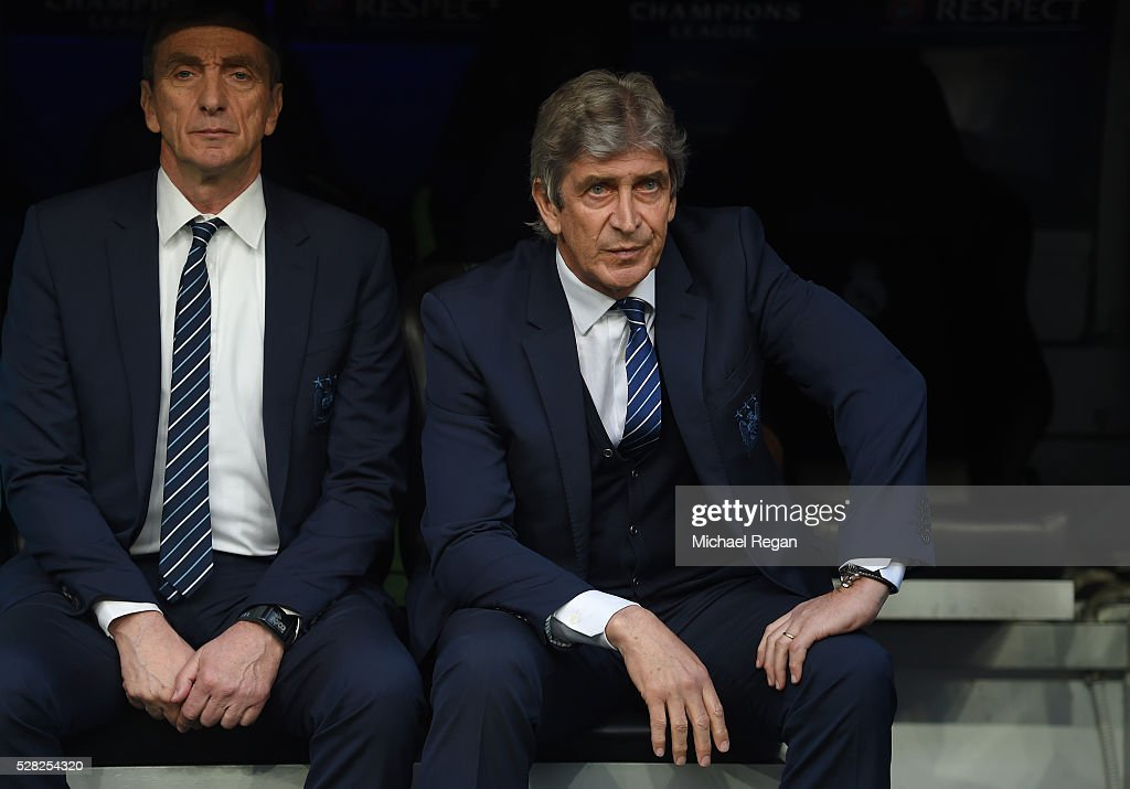 A dejected Manuel Pellegrini the manager of Manchester City looks on during the UEFA Champions League semi final, second leg match between Real Madrid and Manchester City FC at Estadio Santiago Bernabeu on May 4, 2016 in Madrid, Spain.