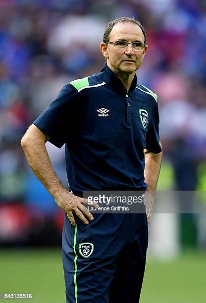 Dejected Martin O'Neill manager of Republic of Ireland is seen on the pitch after their team's 12 defeat in the UEFA EURO 2016 round of 16 match...