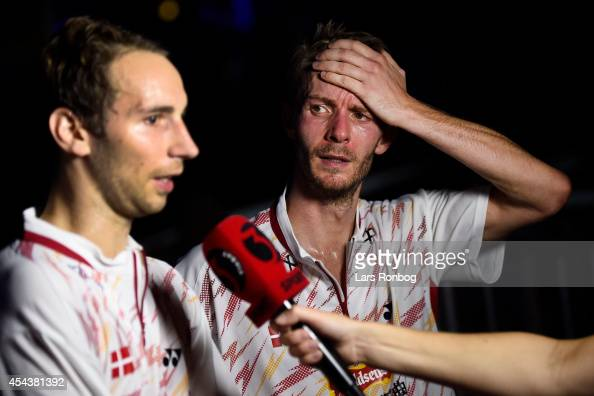 A dejected Mathias Boe and Carsten Mogensen of Denmark after lossing against Yong Dae Lee and Yeon Seong Yoo of Korea in the semifinals during the...