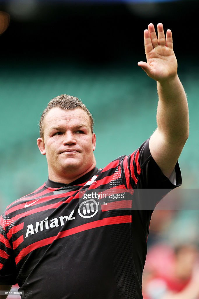 A dejected Matt Stevens of Saracens appaluds the fans following his team's 24-12 defeat during the Heineken Cup semi final between Saracens and Toulon at Twickenham Stadium on April 28, 2013 in London, United Kingdom.