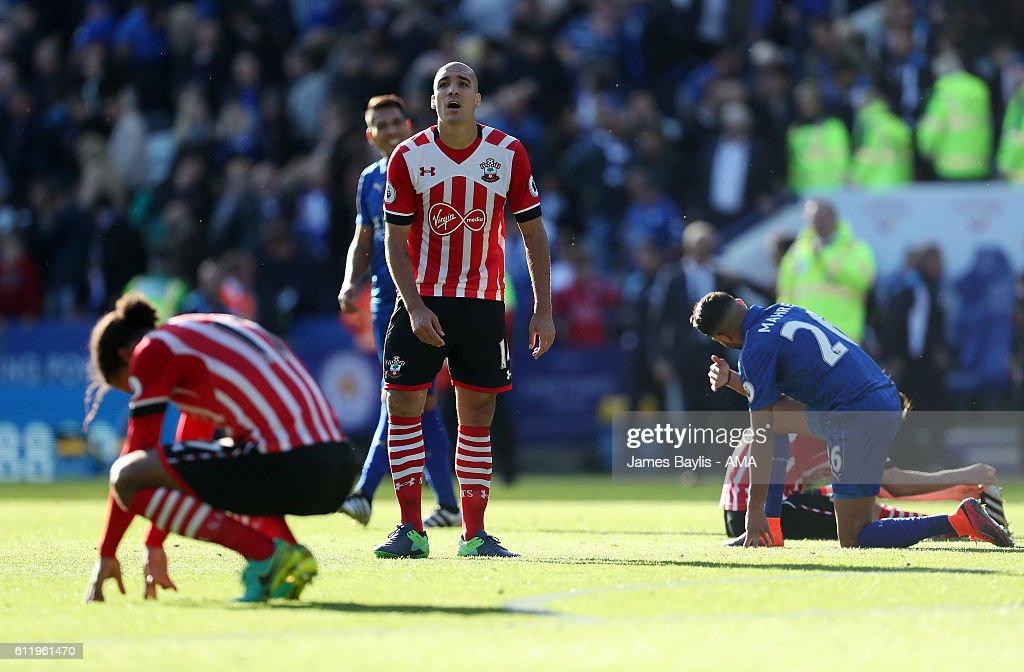 A dejected Oriol Romeu of Southampton at full time after the Premier League match between Leicester City and Southampton at The King Power Stadium on October 2, 2016 in Leicester, England.