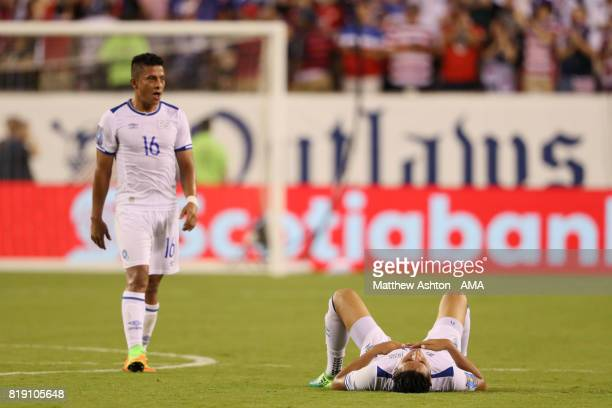 A dejected Oscar Ceren and Narciso Orellana of El Salvador after losing the game during the 2017 CONCACAF Gold Cup Quarter Final match between United...