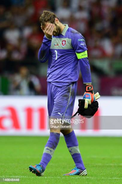 Dejected Petr Cech of Czech Republic after defeat in the UEFA EURO 2012 quarter final match between Czech Republic and Portugal at The National...