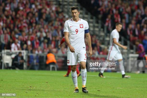 A dejected Robert Lewandowski of Poland during the FIFA 2018 World Cup Qualifier between Denmark and Poland at Parken Stadion on September 1 2017 in...