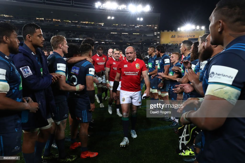 A dejected Rory Best of the British & Irish Lions and teammates walk off the pitch following their 22-16 defeat during the 2017 British & Irish Lions tour match between the Blues and the British & Irish Lions at Eden Park on June 7, 2017 in Auckland, New Zealand.