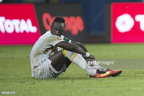 A dejected SADIO MANE of Senegal after he missed his penalty during the quarterfinal match between Senegal and Cameroon at Stade Franceville on...