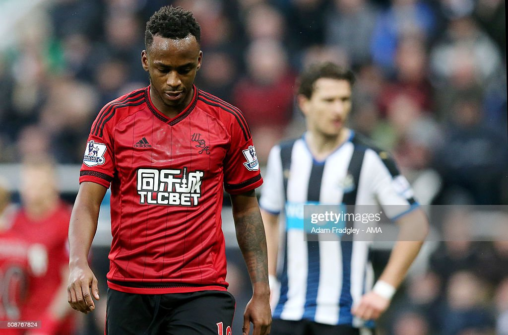 A dejected <a gi-track='captionPersonalityLinkClicked' href=/galleries/search?phrase=Saido+Berahino&family=editorial&specificpeople=6216861 ng-click='$event.stopPropagation()'>Saido Berahino</a> of West Bromwich Albion during the Barclays Premier League match between Newcastle United and West Bromwich Albion at St. James Park on February 06, 2016 in Newcastle-upon-Tyne, England.