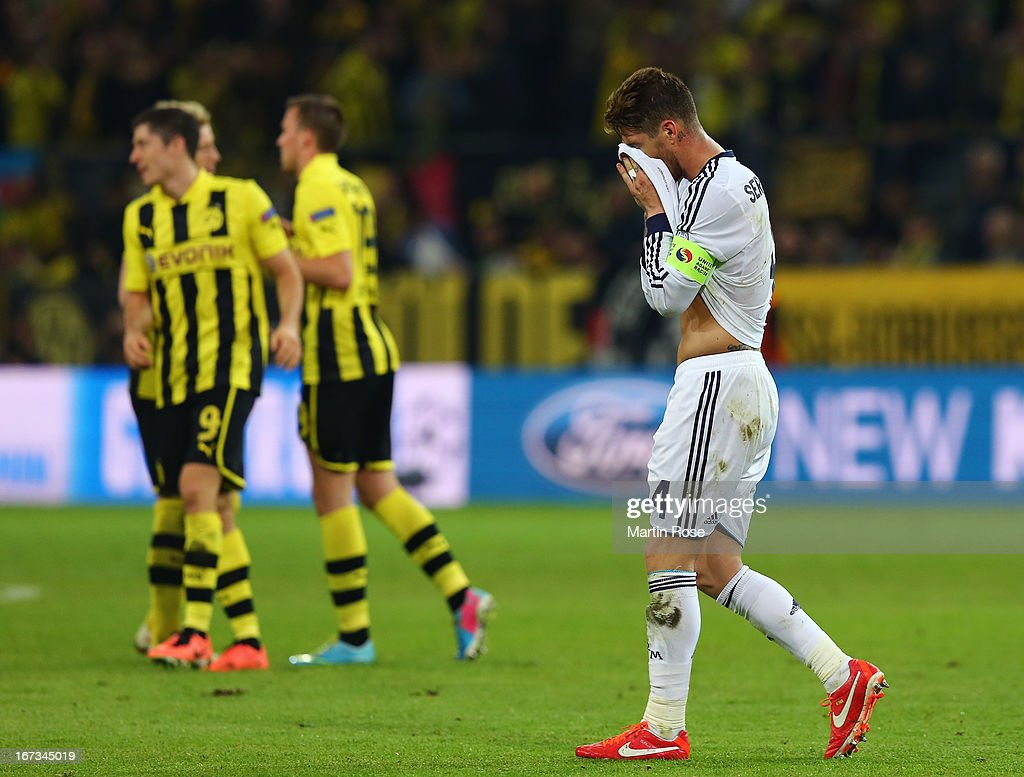 A dejected Sergio Ramos of Real Madrid holds his head in his hands after the UEFA Champions League semi final first leg match between Borussia Dortmund and Real Madrid at Signal Iduna Park on April 24, 2013 in Dortmund, Germany.