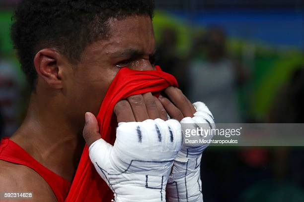 A dejected Shakur Stevenson of the United States reacts following his defeat during theMen's Bantam Final Bout against Robeisy Ramirez of Cuba on Day...
