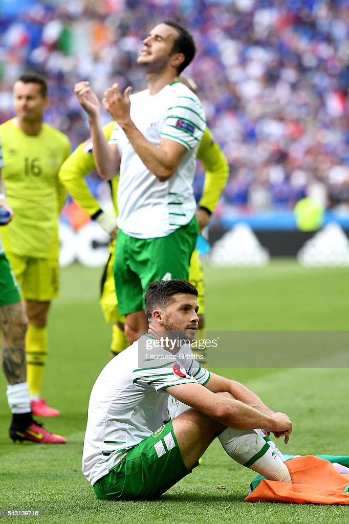 Dejected <a gi-track='captionPersonalityLinkClicked' href=/galleries/search?phrase=Shane+Long&family=editorial&specificpeople=661194 ng-click='$event.stopPropagation()'>Shane Long</a> of Republic of Ireland is seen after their team's 1-2 defeat in the UEFA EURO 2016 round of 16 match between France and Republic of Ireland at Stade des Lumieres on June 26, 2016 in Lyon, France.