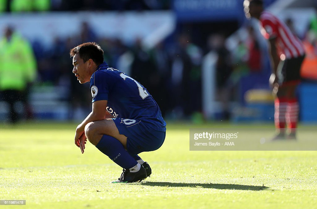 A dejected Shinji Okazaki of Leicester City at full time after the Premier League match between Leicester City and Southampton at The King Power Stadium on October 2, 2016 in Leicester, England.
