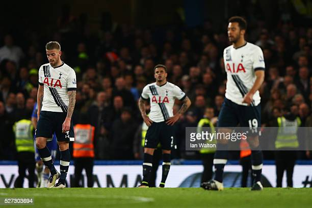 Dejected Spurs players react after conceding a second goal during the Barclays Premier League match between Chelsea and Tottenham Hotspur at Stamford...