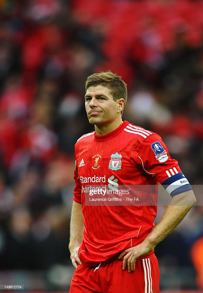 Dejected <a gi-track='captionPersonalityLinkClicked' href=/galleries/search?phrase=Steven+Gerrard&family=editorial&specificpeople=202052 ng-click='$event.stopPropagation()'>Steven Gerrard</a> of Liverpool after defeat in the FA Cup Final with Budweiser between Liverpool and Chelsea at Wembley Stadium on May 5, 2012 in London, England.