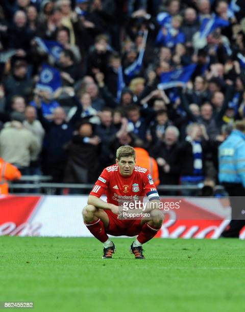 A dejected Steven Gerrard of LIverpool after losing the FA Cup Final against Chelsea at Wembley Stadium on May 05 2012 in London England