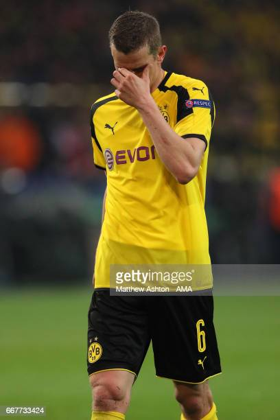 A dejected Sven Bender of Borussia Dortmund during the UEFA Champions League Quarter Final first leg match between Borussia Dortmund and AS Monaco at...