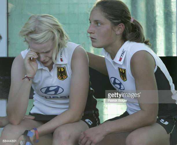A dejected Svenja Schuermann and Martina Heinlein of Germany after losing the 7th Women's European Nations Championship Final between Germany and...