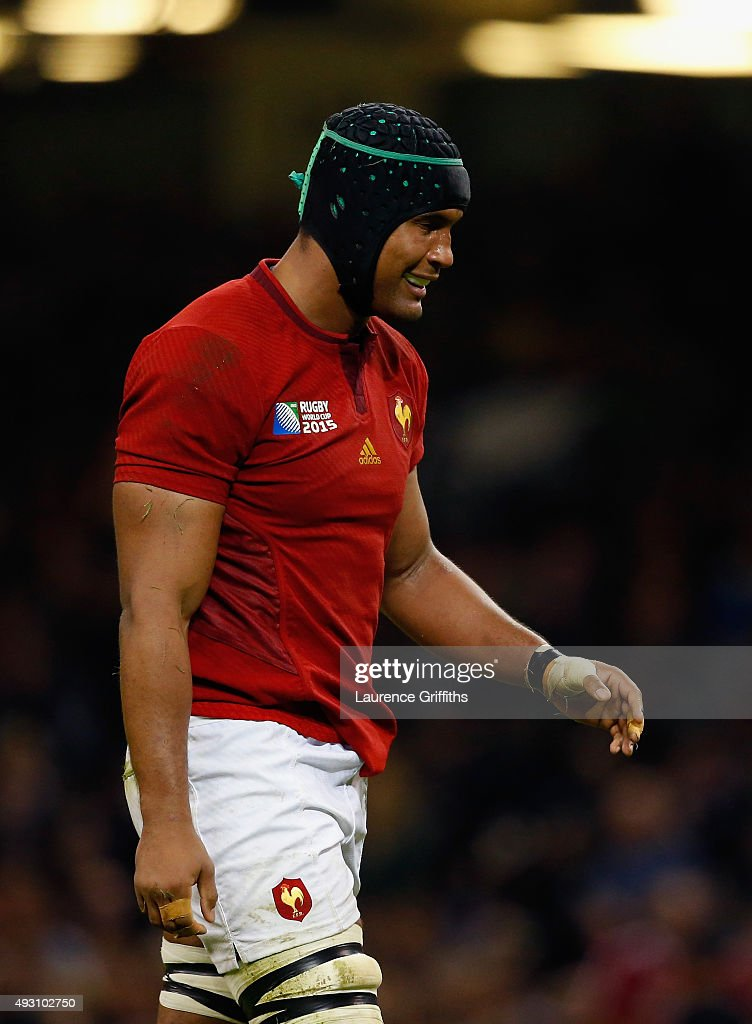 A dejected <a gi-track='captionPersonalityLinkClicked' href=/galleries/search?phrase=Thierry+Dusautoir&family=editorial&specificpeople=544025 ng-click='$event.stopPropagation()'>Thierry Dusautoir</a> of France during the 2015 Rugby World Cup Quarter Final match between New Zealand and France at the Millennium Stadium on October 17, 2015 in Cardiff, United Kingdom.