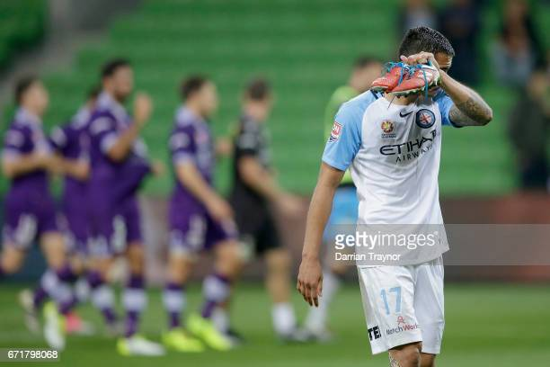 A dejected Tim Cahill of Melbourne City leaves the ground after the ALeague Elimination Final match between Melbourne City FC and the Perth Glory at...