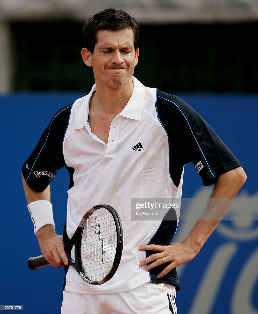 A dejected Tim Henman of Great Britain reacts during a match against Diminik Hrbaty of Slovak Republic during the second round of the ATP Telecom...