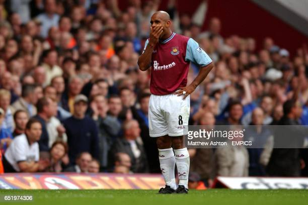 A dejected Trevor Sinclair of West Ham United after missing the target with a close range shot against Birmingham