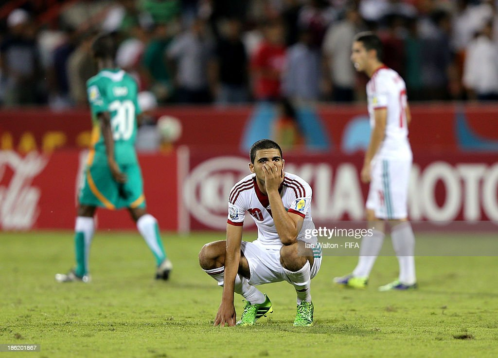 A dejected Walid Sabbar of Morocco after the Round of 16 match of the FIFA U-17 World Cup between Morocco and Ivory Coast at Fujairah Stadium on October 29, 2013 in Fujairah, United Arab Emirates.