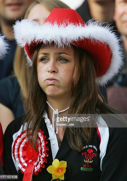 A dejected Welsh fan looks on during the Rugby World Cup 2007 Pool B match between Wales and Fiji at the Stade de la Beaujoire on September 29 2007...