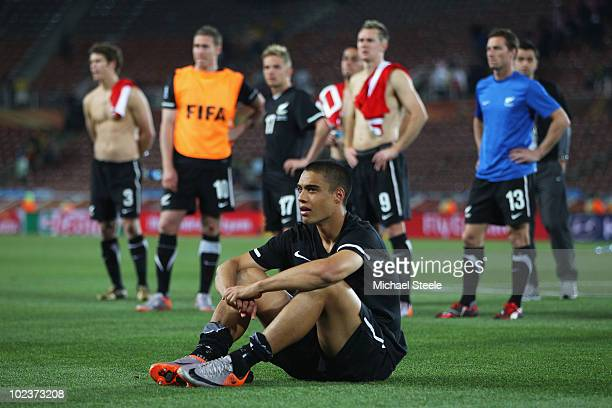 Dejected Winston Reid of New Zealand after a goalless draw and elimination in the 2010 FIFA World Cup South Africa Group F match between Paraguay and...