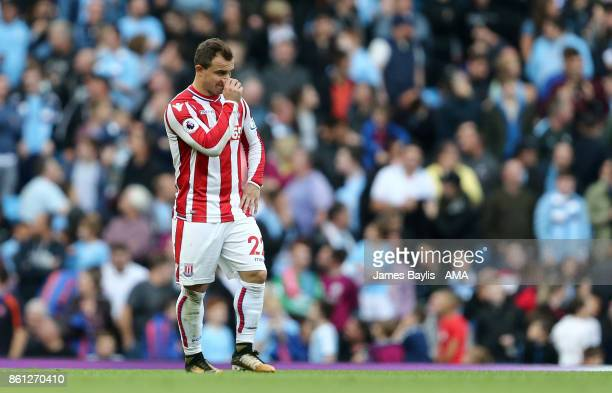 A dejected Xherdan Shaqiri of Stoke City during the Premier League match between Manchester City and Stoke City at Etihad Stadium on October 14 2017...