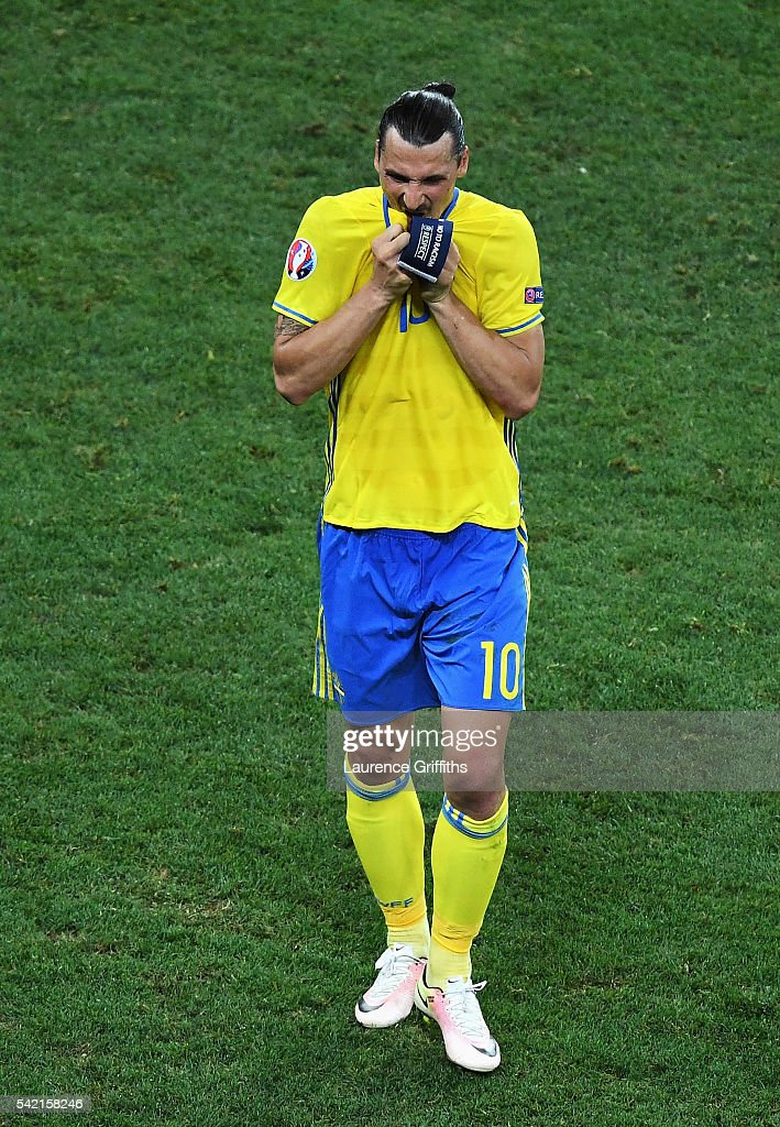 A dejected Zlatan Ibrahimovic of Sweden leaves the field after defeat in the UEFA EURO 2016 Group E match between Sweden and Belgium at Allianz Riviera Stadium on June 22, 2016 in Nice, France.