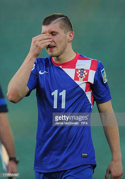 Dejection for Ante Rebic of Croatia during the FIFA U20 World Cup Round of 16 match between Croatia and Chile at Ataturk Stadium on July 3 2013 in...