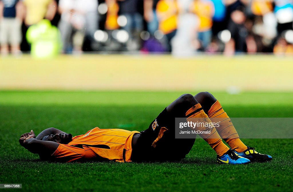 Dejection for <a gi-track='captionPersonalityLinkClicked' href=/galleries/search?phrase=Bernard+Mendy&family=editorial&specificpeople=661868 ng-click='$event.stopPropagation()'>Bernard Mendy</a> of Hull City after the Barclays Premier League match between Hull City and Sunderland at the KC Stadium on April 24, 2010 in Hull, England.