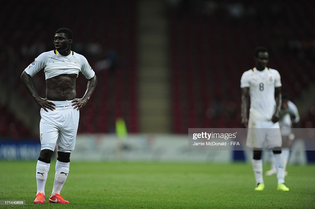 Dejection for Joseph Duncan of Ghana as the exit the competition during the FIFA U-20 World Cup Group A match between Spain and Ghana at the Ali Sami Yen Arena on June 24, 2013 in Istanbul, Turkey.