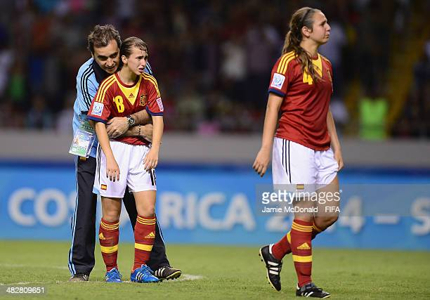 Dejection for Laura Dominguez of Spain during the FIFA U17 Women's World Cup Final between Japan and Spain at Estadio Nacional on April 4 2014 in San...