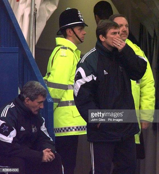 Dejection for Newcastle United's manager Kenny Dalglish and his assistant Terry McDermott following Newcastle's defeat during this afternoon's...