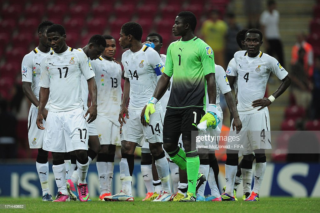 Dejection for players of Ghana as they exit the competition during the FIFA U-20 World Cup Group A match between Spain and Ghana at the Ali Sami Yen Arena on June 24, 2013 in Istanbul, Turkey.