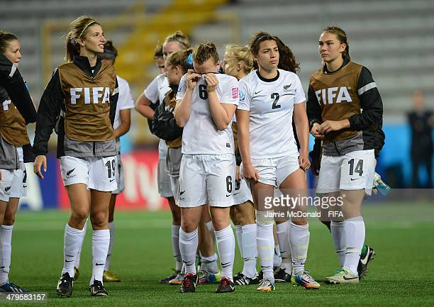 Dejection for players of New Zealand during the FIFA U17 Women's World Cup Group C match between New Zealand and Spain at Ricardo Saprissa Ayma on...