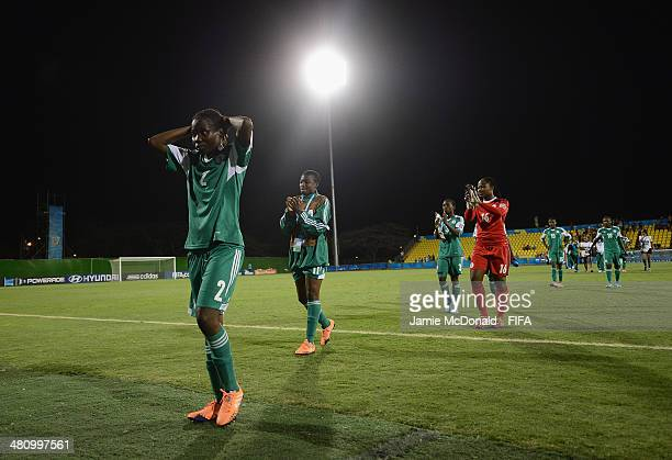 Dejection for players of Nigeria during the FIFA U17 Women's World Cup Quarter Final match between Nigeria and Spain at Edgardo Baltodano Briceno on...