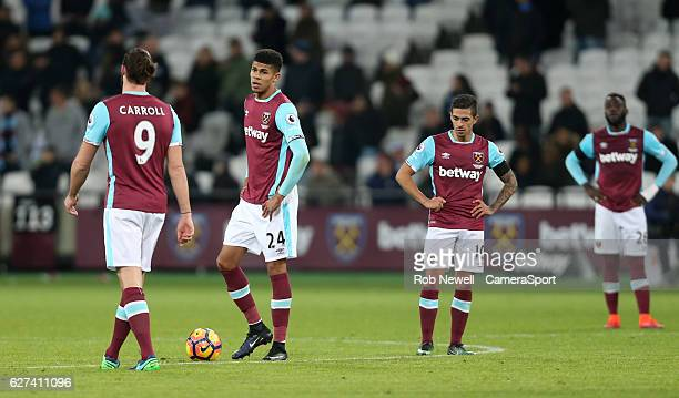 Dejection for West Ham United during the Premier League match between West Ham United and Arsenal at London Stadium on December 3 2016 in Stratford...