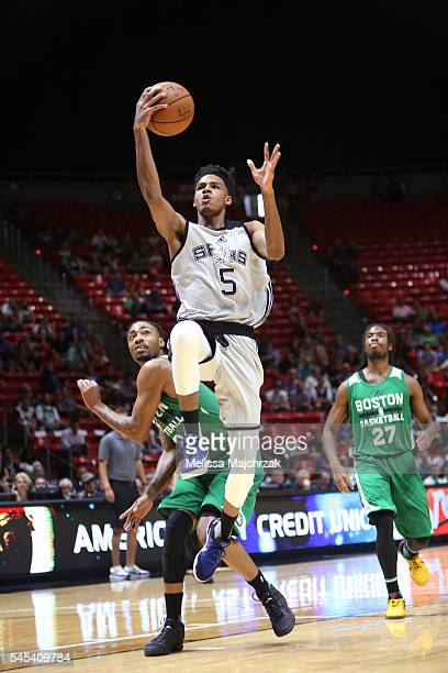 Dejounte Murray of San Antonio Spurs shoots the ball against the Boston Celtics on July 7 2016 during the 2016 Utah Summer League at vivintSmartHome...