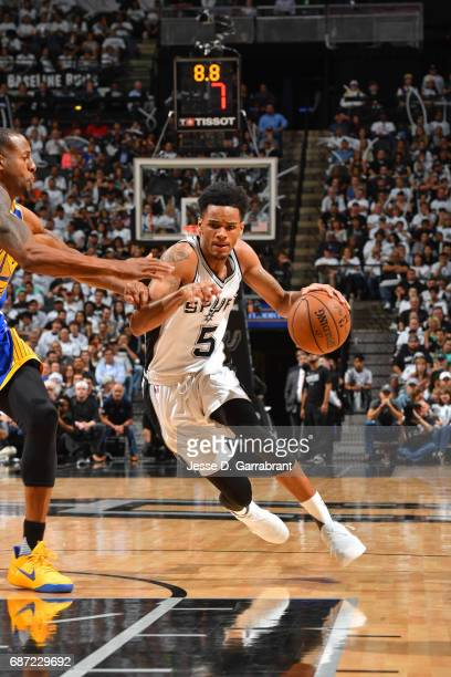 Dejounte Murray of the San Antonio Spurs drives to the basket against the Golden State Warriors in Game Three of the Western Conference Finals during...