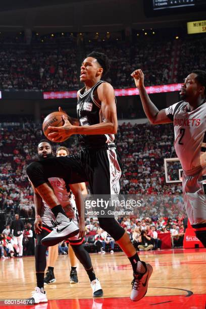 Dejounte Murray of the San Antonio Spurs goes to the basket during the game against the Houston Rockets during Game Four of the Western Conference...