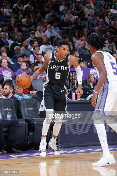 Dejounte Murray of the San Antonio Spurs handles the ball against the Sacramento Kings during the preseason game on October 2 2017 at Golden 1 Center...