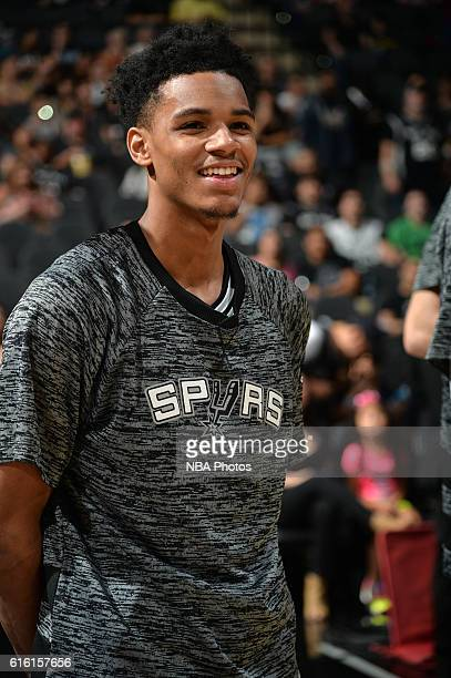 Dejounte Murray of the San Antonio Spurs is seen before the game against the Miami Heat on October 14 2016 at the ATT Center in San Antonio Texas...