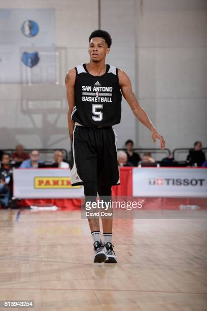 Dejounte Murray of the San Antonio Spurs looks downcourt against the Miami Heat during the 2017 Las Vegas Summer League on July 8 2017 at the Cox...