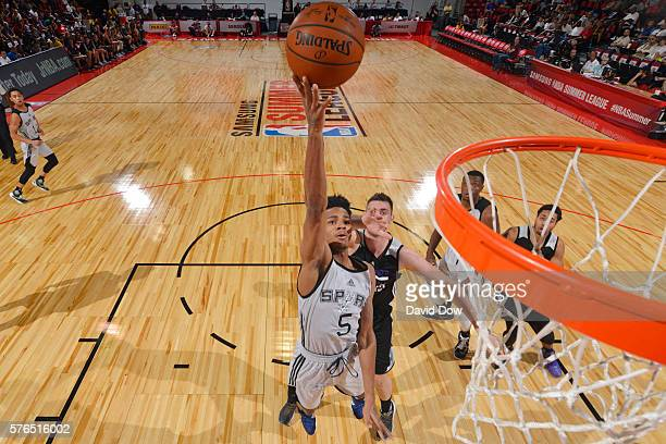 Dejounte Murray of the San Antonio Spurs shoots the ball against the Sacramento Kings during the 2016 NBA Las Vegas Summer League game on July 15...