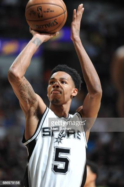 Dejounte Murray of the San Antonio Spurs shoots the ball against the Golden State Warriors during Game Four of the Western Conference Finals of the...